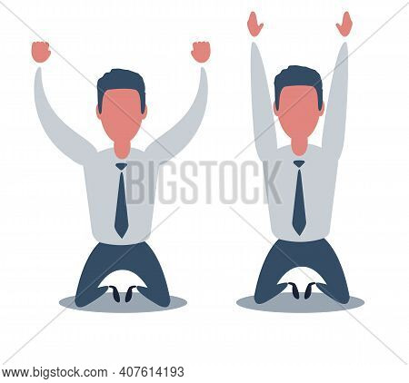 Flat Depressed Businessman Kneeling. Bankruptcy And Business Failure Concept. Set .vector Flat Carto