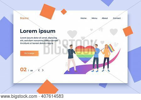 People Holding Rainbow Heart And Flag. Community, Pride, Lgbt Symbol. Lgbt Parade Concept. Vector Il