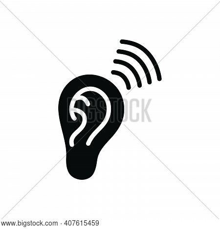 Black Solid Icon For Heard Listened Frequent Ear Frequency Sound Hearing