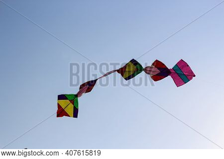 Colourful Kites Flying In The Sky Basant Panchami