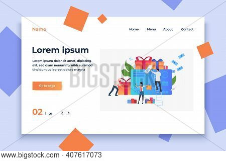 People At Credit Card With Gift Boxes And Bags Vector. Sale, Consumerism, Retail. Shopping Concept.