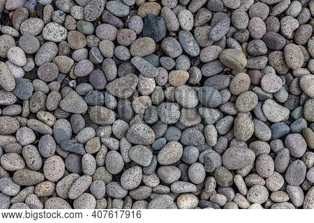 Sea Stones Background. Colorful Small Pebbles Or Stone In Garden. Flat Lay Of Sea Stones Texture Bac