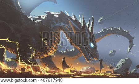 Fantasy Scene Of A Woman Reaching For The Dragon With A Nearby Lord, Digital Art Style, Illustration