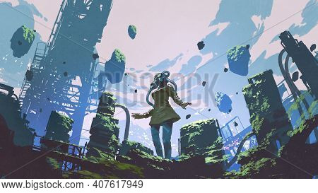 Woman In Gas Mask Standing In An Overgrown Factory, Digital Art Style, Illustration Painting