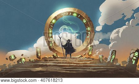 The Wizard Holds His Wand Standing At The Circle Gate, Digital Art Style, Illustration Painting