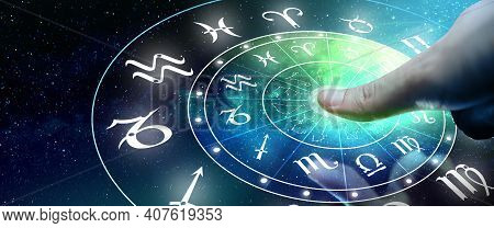Astrological Zodiac Signs Inside Of Horoscope Circle. Man Or Woman Touching Screen Zodiac Signs Holo
