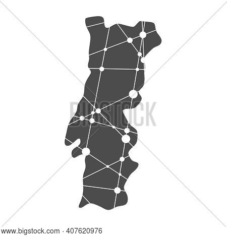 Concept Of Travel. Map Of Portugal Textured By Lines And Dots Pattern
