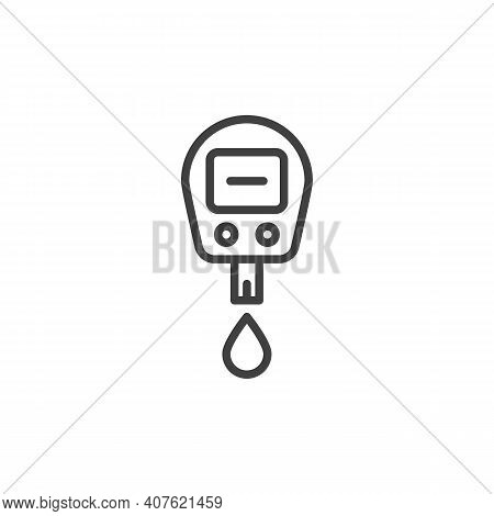 Diabetes Glucose Meter Line Icon. Linear Style Sign For Mobile Concept And Web Design. Blood Sugar T