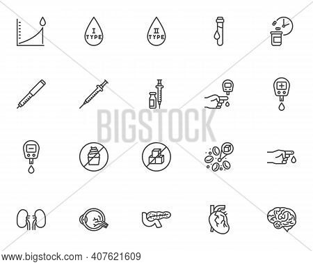 Diabetes Disease Line Icons Set. Linear Style Symbols Collection, Outline Signs Pack. Vector Graphic