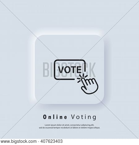 Vote Logo. Online Vote Icon. Hand Click On Vote Button Line Icon. Vector. Ui Icon. Neumorphic Ui Ux