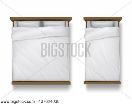 Single And Double Beds With White Sheet, Pillows And Duvet Top View. Vector Realistic Mockup Of Blan