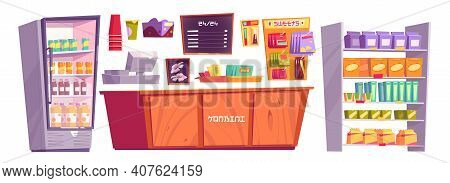 Japanese Konbini Shop Isolated Stuff And Products, Minimarket Cashier Desk, Shelves With Snacks Or N