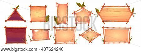 Bamboo Frames With Old Parchment, Wooden Planks Background And Palm Leaves. Different Shapes Hawaiia