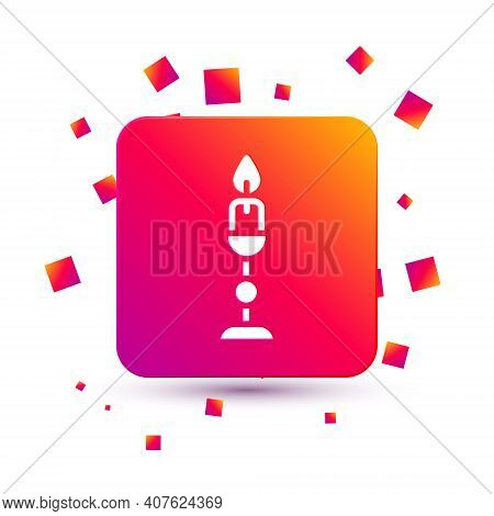 White Burning Candle In Candlestick Icon Isolated On White Background. Old Fashioned Lit Candle. Cyl
