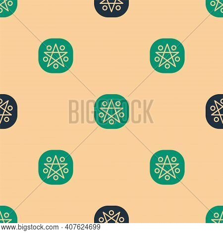 Green And Black Pentagram In A Circle Icon Isolated Seamless Pattern On Beige Background. Magic Occu