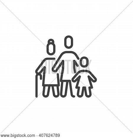 Grandmother With Daughter And Child Line Icon. Linear Style Sign For Mobile Concept And Web Design.