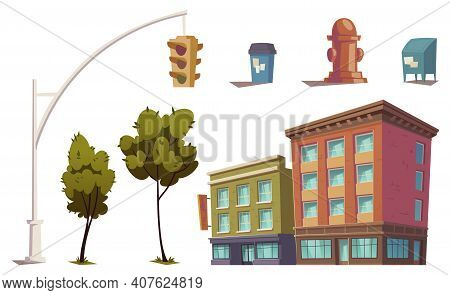 Cityscape Elements With Residential Buildings, Traffic Light, Fire Hydrant, Trash Can And Mailbox. V