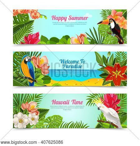 Happy Time Hawaii Islands Summer Vacation Horizontal Posters Set With Tropical Plants Flowers Abstra