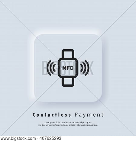 Nfc Bracelet Connected To Smartphone Linear Icon. Nfc Phone Synchronized With Smartwatch. Rfid Wrist