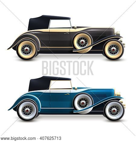 Black And Blue Retro Car Profile Decorative Icons Set Isolated Vector Illustration
