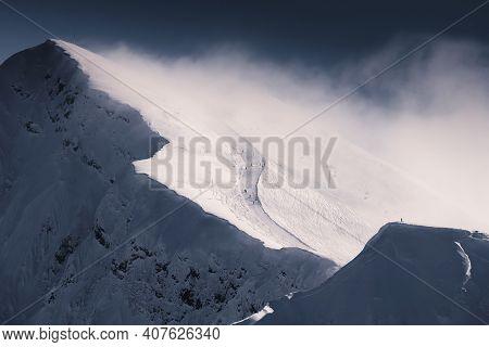 Ski Slope On The Top Of The Mountain In Winter Ski Resort. Rosa Khutor, Sochi, Russia. Beautiful Sno