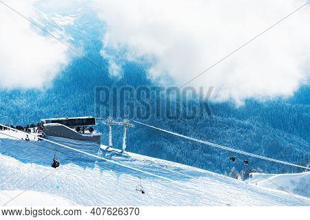 Ski Lift On Ski Resort In Winter Mountains. Rosa Khutor, Sochi, Russia. Beautiful Snow-covered Mount