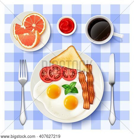 Traditional American Breakfast With Fried Eggs Bacon Black Coffee And Grapefruit Top View Tablecloth