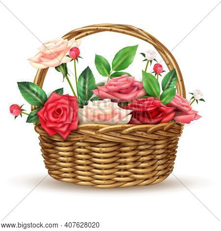 Beautiful Flowers Basket Arrangement Full With Fine Fresh Roses For Special Occasions Realistic Clos