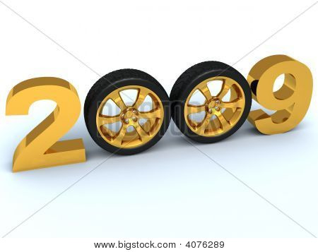 Figures of coming new year where zero are replaced with automobile wheels poster