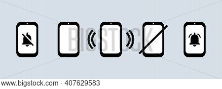 Phone Icon Set In Black. Silent Mode. Calling Phone Sign. No Smartphone Sign. Vector On Isolated Whi