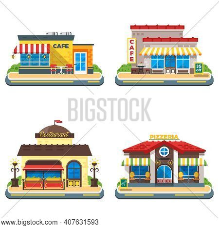 Colorful Cafe Restaurant And Pizzeria Buildings On White Background 2x2 Flat Icons Set Isolated Vect