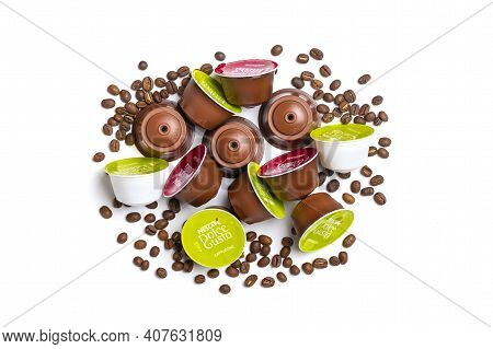 January 2021,milan, Italy Set Of Nescafe Dolce Gusto Coffee Capsules Isolated On White Background To