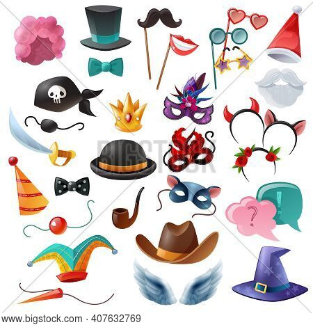 Collection Of Isolated Cartoon Icons With Props For Masquerade So As Mask Monocle Bowler Cylinder No