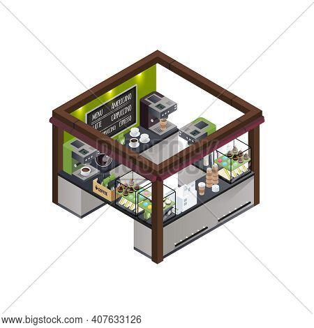 Coffee Stall Outdoor Concession Stand Isometric Composition With Different Coffee Varieties Menu Cof