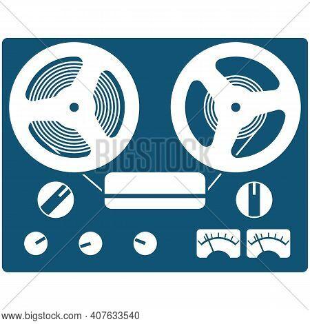 Retro Bobbin Reel-to-reel Tape Recorder Vector Icon