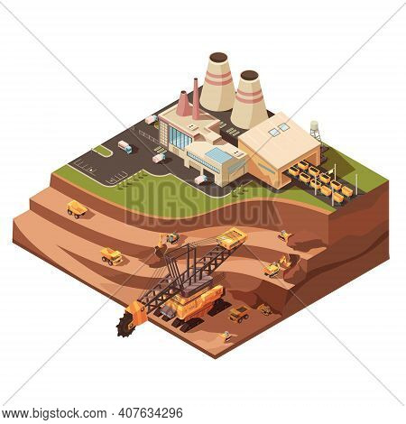 Isometric Mining Composition With Images Of Factory Buildings And Opencast Mine With Extractive Equi