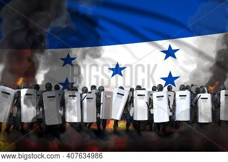 Honduras Police Guards In Heavy Smoke And Fire Protecting Law Against Revolt - Protest Fighting Conc