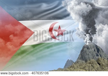 High Volcano Eruption At Day Time With White Smoke On Western Sahara Flag Background, Problems Of Er