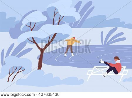 People Skating On Outdoor Ice Rink On Cold Winter Day. Man And Woman Spending Leisure Time In Nature