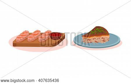 Pie With Savory Filling And Meat Sticks With Sauce Vector Set