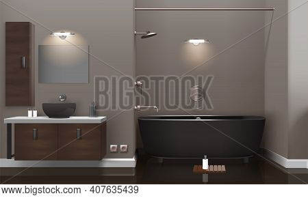 Realistic Bathroom Interior Design With Lighting, Brown Furniture, Dark Washbasin And Tub, Glossy Fl