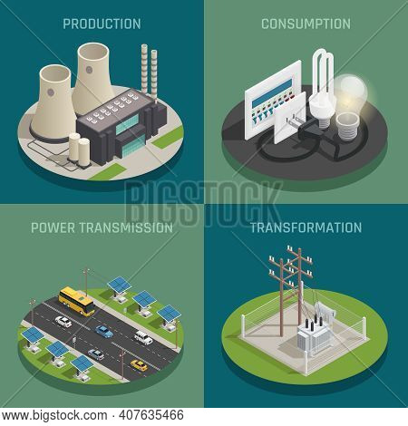 Electric Power Production Generating Transmission Transformation Substation And Consumption Concept