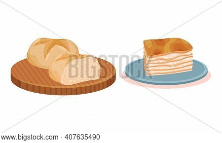 Loaf Of Wheat Bread On Wooden Board And Lard Slab Vector Set