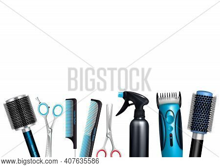 Hairdresser Tools On White Background Including Brushes And Combs Sprayer Various Scissors And Trimm