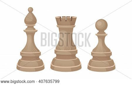 White Chess Piece Or Chessman With Rook And Pawn Vector Set