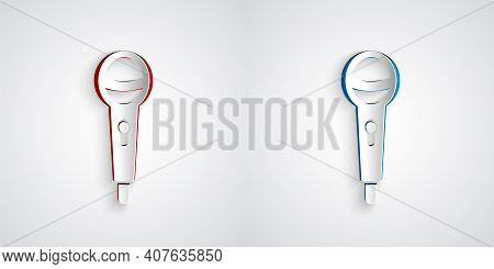 Paper Cut Microphone Icon Isolated On Grey Background. On Air Radio Mic Microphone. Speaker Sign. Pa