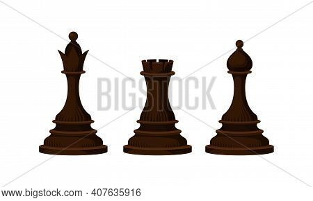 Black Chess Piece Or Chessman With Rook And Queen Vector Set