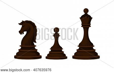 Black Chess Piece Or Chessman With Queen And Knight Vector Set