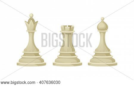 White Chess Piece Or Chessman With Queen And Rook Vector Set