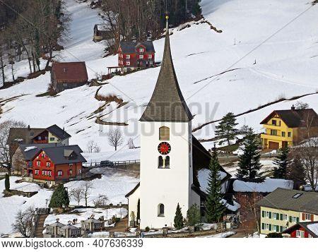 The St. Gallus Church In Amden Or The Roman-catholic Church Amden (die Römisch-katholische Kirche Am